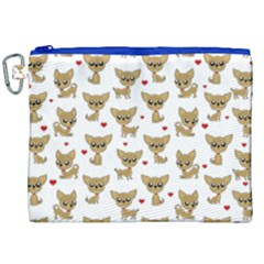 Chihuahua Pattern Canvas Cosmetic Bag (xxl) by Valentinaart