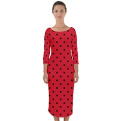 Ladybug Quarter Sleeve Midi Bodycon Dress