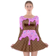 Chocolate And Strawberry Icecream Long Sleeve Skater Dress