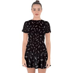 Music Tones Black Drop Hem Mini Chiffon Dress