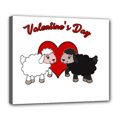 Valentines Day   Sheep  Deluxe Canvas 24  X 20   by Valentinaart