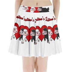 Valentines Day   Sheep  Pleated Mini Skirt