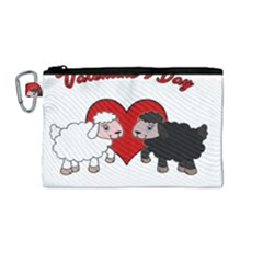 Valentines Day   Sheep  Canvas Cosmetic Bag (medium)