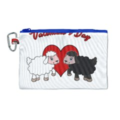 Valentines Day   Sheep  Canvas Cosmetic Bag (large) by Valentinaart