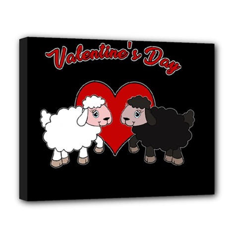 Valentines Day   Sheep  Deluxe Canvas 20  X 16   by Valentinaart