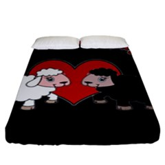 Valentines Day   Sheep  Fitted Sheet (king Size) by Valentinaart