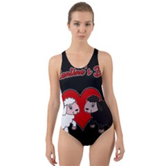 Valentines Day   Sheep  Cut Out Back One Piece Swimsuit