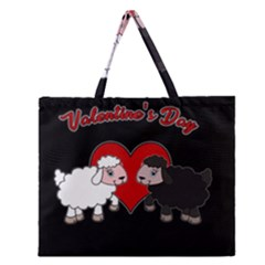 Valentines Day   Sheep  Zipper Large Tote Bag by Valentinaart