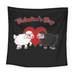 Valentines Day   Sheep  Square Tapestry (large) by Valentinaart