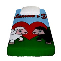 Valentines Day   Sheep  Fitted Sheet (single Size) by Valentinaart