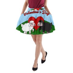Valentines Day   Sheep  A Line Pocket Skirt by Valentinaart