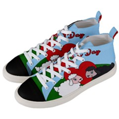 Valentines Day   Sheep  Men s Mid Top Canvas Sneakers by Valentinaart