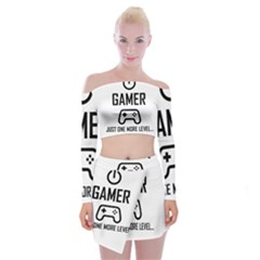 Gamer Off Shoulder Top With Mini Skirt Set by Valentinaart