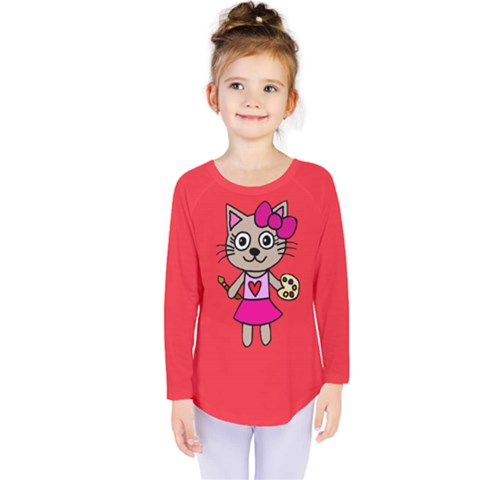 Cat Painting Kids  Long Sleeve Tee by Teresa20114