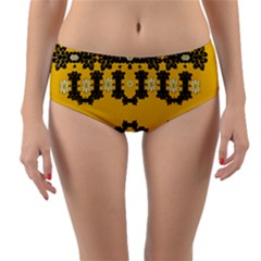 Ornate Circulate Is Festive In Flower Decorative Reversible Mid Waist Bikini Bottoms by pepitasart