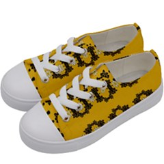 Ornate Circulate Is Festive In Flower Decorative Kids  Low Top Canvas Sneakers by pepitasart