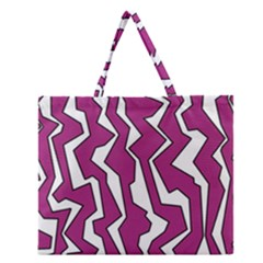 Electric Pink Polynoise Zipper Large Tote Bag by jumpercat