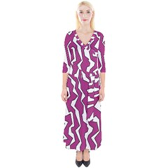 Electric Pink Polynoise Quarter Sleeve Wrap Maxi Dress by jumpercat