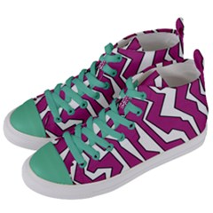 Electric Pink Polynoise Women s Mid Top Canvas Sneakers by jumpercat