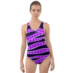 Purple Tentacles Cut Out Back One Piece Swimsuit