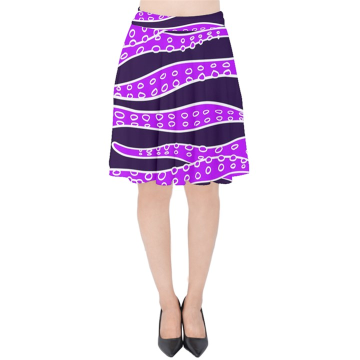 Purple Tentacles Velvet High Waist Skirt