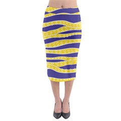 Yellow Tentacles Midi Pencil Skirt