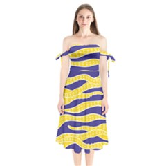 Yellow Tentacles Shoulder Tie Bardot Midi Dress