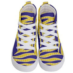 Yellow Tentacles Kid s Hi Top Skate Sneakers