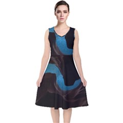 Abstract Adult Art Blur Color V Neck Midi Sleeveless Dress