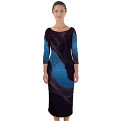 Abstract Adult Art Blur Color Quarter Sleeve Midi Bodycon Dress