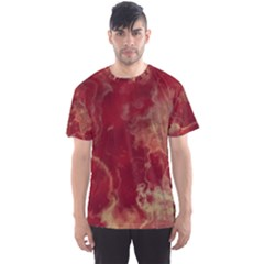 Marble Red Yellow Background Men s Sports Mesh Tee