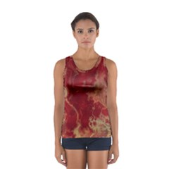 Marble Red Yellow Background Sport Tank Top
