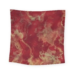 Marble Red Yellow Background Square Tapestry (small)