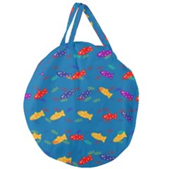 Fish Blue Background Pattern Texture Giant Round Zipper Tote