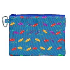 Fish Blue Background Pattern Texture Canvas Cosmetic Bag (xl) by Nexatart