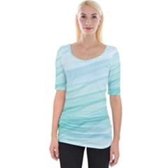 Texture Seawall Ink Wall Painting Wide Neckline Tee by Nexatart