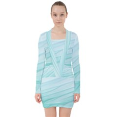 Texture Seawall Ink Wall Painting V Neck Bodycon Long Sleeve Dress
