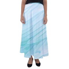 Texture Seawall Ink Wall Painting Flared Maxi Skirt