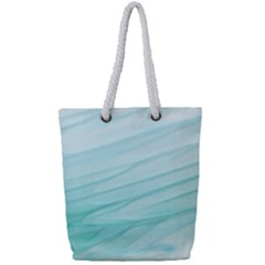 Texture Seawall Ink Wall Painting Full Print Rope Handle Tote (small)