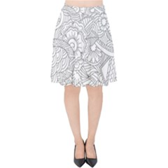 Ornament Vector Retro Velvet High Waist Skirt