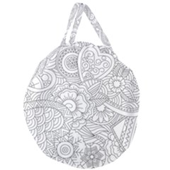 Ornament Vector Retro Giant Round Zipper Tote