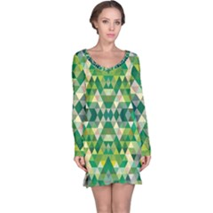 Forest Abstract Geometry Background Long Sleeve Nightdress