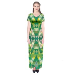 Forest Abstract Geometry Background Short Sleeve Maxi Dress