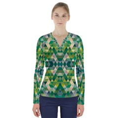 Forest Abstract Geometry Background V Neck Long Sleeve Top