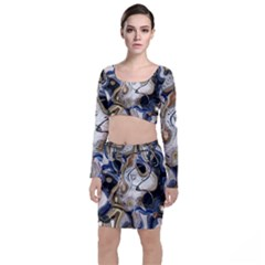Time Abstract Dali Symbol Warp Long Sleeve Crop Top & Bodycon Skirt Set
