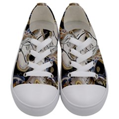 Time Abstract Dali Symbol Warp Kids  Low Top Canvas Sneakers