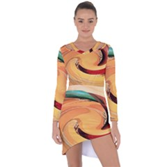Spiral Abstract Colorful Edited Asymmetric Cut Out Shift Dress