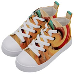 Spiral Abstract Colorful Edited Kid s Mid Top Canvas Sneakers by Nexatart