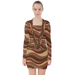 Backgrounds Background Structure V Neck Bodycon Long Sleeve Dress by Nexatart