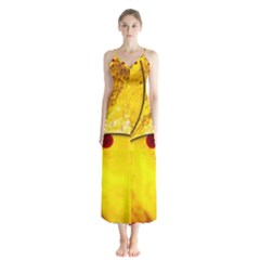 Abstract Water Oil Macro Button Up Chiffon Maxi Dress